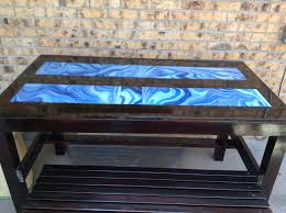 Resin Table Top With Art Glass Underlay