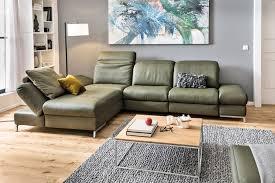 himolla ecksofa füssen grün leder wohnzimmer ideen wohnung
