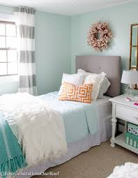 Sophisticated Teenage Girls Bedroom Makeover Light Green Walls Trance By Sherwin Williams Blue White Orange And Pink Home Decor Accents