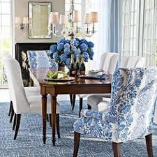 Blue And White Dining Room With Great Head Chairs