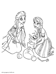 Printable Coloring Pages Frozen Princesses And Olaf