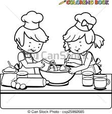 Children Cooking Coloring Page Vector