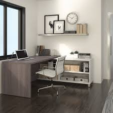 Bestar U Shaped Desks by Bestar Pro Linea L Desk White U0026 Bark Grey Walmart Com