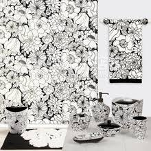 Black And White Flower Shower Curtain by Floral Shower Curtain
