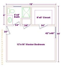 Master bedroom 12x16 floor plan with 6x8 bath and walk in closet