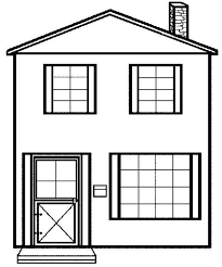 Simple House Picture In Houses Coloring Page