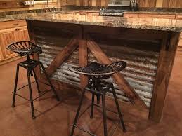 Rustic Kitchen Island Barn Style Tractor Seat Bar Stools