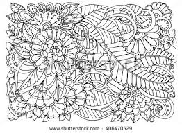 Zentangle Floral Doodles In Black And White Coloring Pages For Adult Relaxing Job