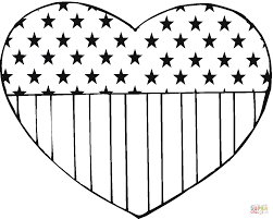 Click The USA Flag In A Heart Shape Coloring Pages To View Printable