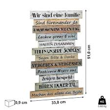 planken schild familienregeln 51 x 33 cm