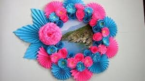 Simple Home Decor Wall Decoration Photo Frame Hanging Flower Paper Craft Ideas