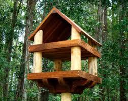 rustic wood platform bird feeder has 2 levels Use as a