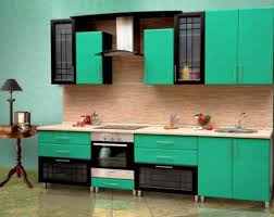 Green Kitchen Cabinets And Turqoise Walls