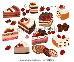 Cakes Decorated With Fruit by Set Cakes Other Sweet Food Isolated Stock Vector 249705997
