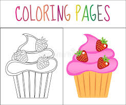 Cake Decorating Books Free by Coloring Book Page Cupcakes Cake Sketch And Color Version