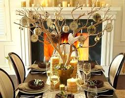 Christmas Dining Table Decorations Decorating Ideas Tree Branches Centerpieces White Black Frame
