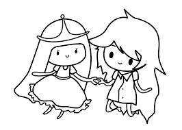 Adventure Time Princess Bubblegum And Marceline The Vampire Queen Coloring Pages