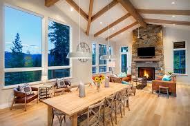 Electric Fireplace Dining Room Rustic With Mountain Views Rectangular Table Contemporary