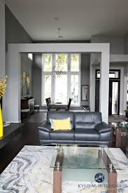 Open Layout Contemporary Design Living Room And Dining Entryway Foyer With Beams Sherwin Williams Gray Paint Colours Kylie M Interiors E Decor