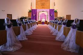 Image Is Loading Purple Wedding Decorations Chair Bows Pew Satin