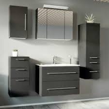details zu badezimmer badmöbel set in anthrazit 80cm keramik waschtisch led spiegelschrank