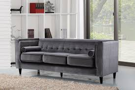 Tufted Velvet Sofa Set by Taylor Velvet Sofa Grey Buy Online At Best Price Sohomod