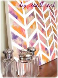 Inspiring Decorative Diy Wall Arts Design For Artistic Decor Ideas Beautiful Colorful Chevron Patterned Brush Painting Canvas Art