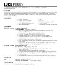 Finance Resume Examples Financial Resumes Throughout Professional 2016