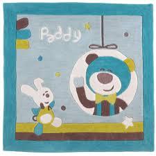 chambre sauthon teddy paddy tapis de chambre bleu 110x110 cm de sauthon baby déco tapis