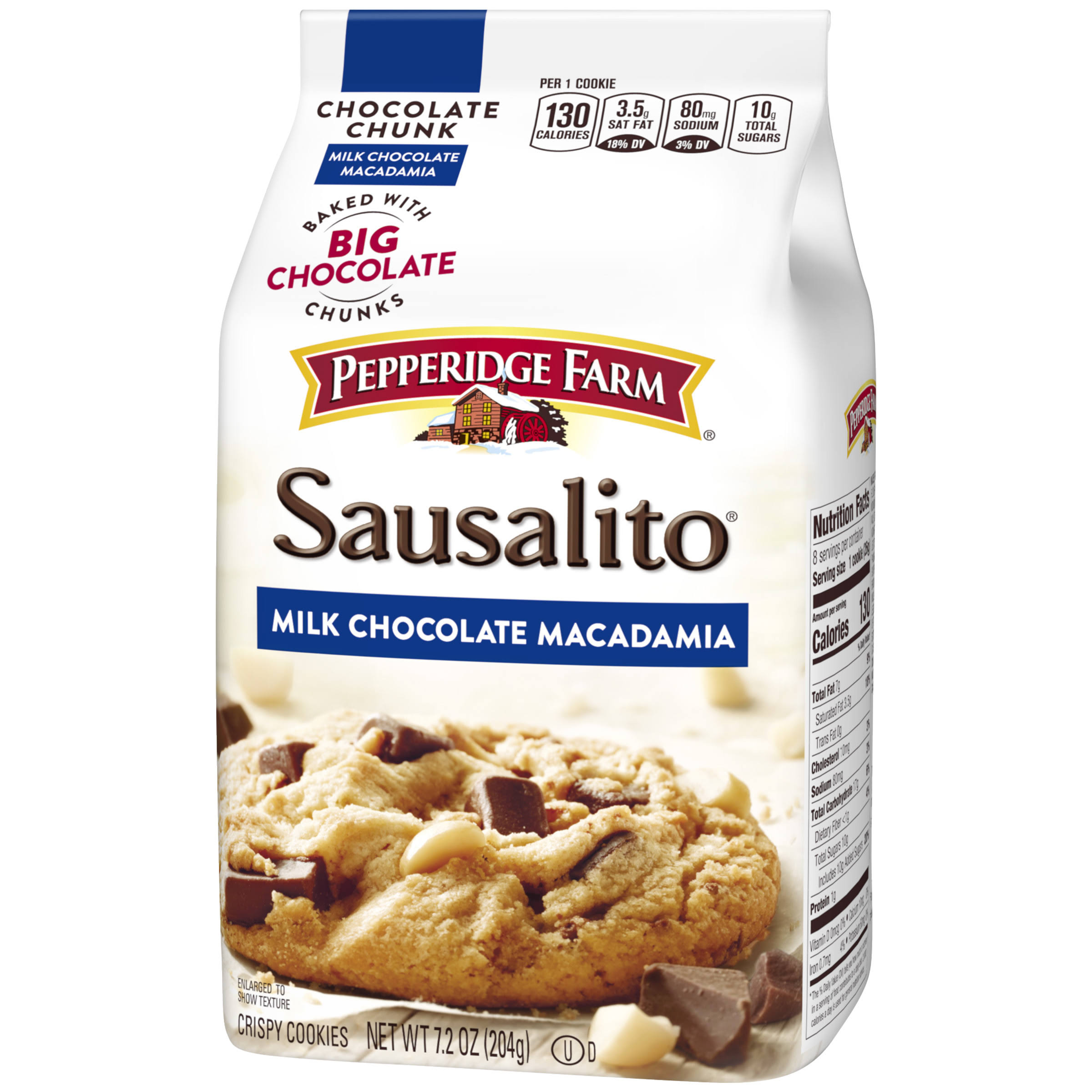 Pepperidge Farm Chocolate Chunk Cookies - Milk Chocolate Macadamia, 204g