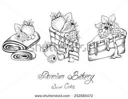 Collection Hand drawn of beautiful slices Cakes with icing and berry Sketch Vector illustration