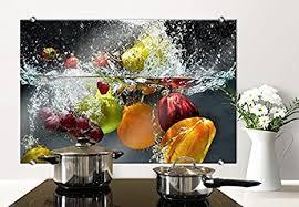 k l wall herd spritzschutz glasbild küche küchenrückwand glas motiv 80x60cm mit klemmbefestigung edelstahl
