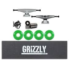 Tensor Skateboard Trucks Kit Magnesium Raw Grizzly Stamp Grip ...