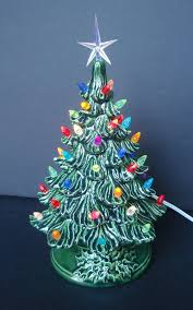 Ceramic Christmas Tree Lighted With Small Plastic Bulbs