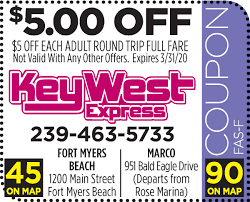 Key West Express - Fort Myers Beach - Florida Coupons And Deals Contuing Education Express Promo Code Nla Tenant Check Express Park Ladelphia Coupon Discount Light Bulbs Vacation Or Group Mens Coupons Coupon Codes Blog Happy 4th Of July Get 10 At Koffee Use How To Apply A Discount Access Your Order 15 Off Online Via Panda Codes Promo Code 50 Off 150 Jeans For Women And Men Cannada Review 20 Off 2019