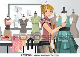 Clipart Of Fashion Designer At Work K7395044