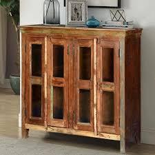Cortina Tall Glazed Display Cabinet Oak LH