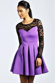 boohoo womens ladies annabelle long sleeve lace detail box pleat