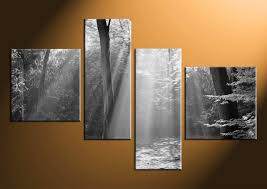 4 Piece Canvas Wall Art Black And White Pictures Scenery Home