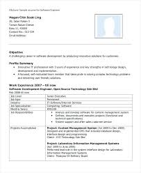 Resume Software Engineer Of An Experienced Test Summary