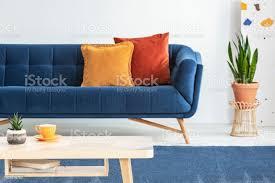 neben blauen mit orange kissen im wohnzimmer interieur mit holztisch zu pflanzen echtes foto mit hintergrundunschärfe stockfoto und mehr bilder