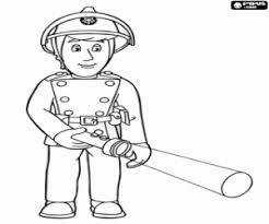 Firefighter Elvis With Flashlight Tom And The Helicopter Wallaby One Coloring Page