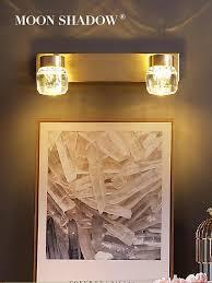 moonshadow wand licht voller kupfer führte spiegel licht einstellbar für home wohnzimmer dekoration nacht le innen beleuchtung 220v