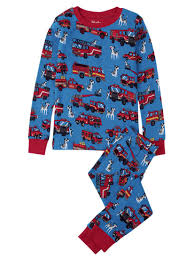 Hatley Children's Fire Trucks Pyjamas, Blue/Red At John Lewis & Partners