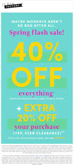 J.Crew Factory Coupons - 60% Off Everything Online At J.Crew ... Coupon Code For J Crew Factory Store Online Food Coupons Uk Teaching Mens Fashion Promo Jcrew Amazon Cell Phone Sale Jcrew Fall Email Subject Line Dont Forget To Shop 25 Extra Off Orders Over 100 J Crew Factory Jcrew Boys Tshirts From Only 8 Free Shipping Kollel Coupon Wwwcarrentalscom Ethos Watches Hood Milk 2018 9 Things You Should Know About The Honey Plugin Gigworkercom 50 Off Up Grabs Expires Today Code Mfs Saving Money Was Never This Easy