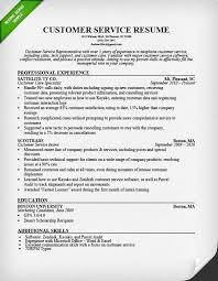 Customer Service Resume Sample Professional Experience