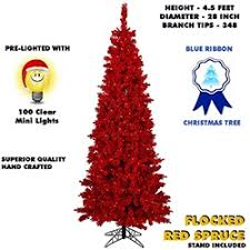 17 45 Foot Red Flocked Spruce Lighted Artificial Christmas Tree With Lights