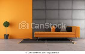 schwarzes und oranges wohnzimmer mit modernem sofa canstock