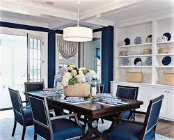 Bead Board Dinning Rooms And Sophisticated Dark Wood Navy Blue Chairs In This