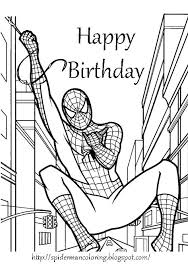 Stunning Printable Coloring Happy Birthday Cards Print Pages Spider Man Free And Birthdays Kids